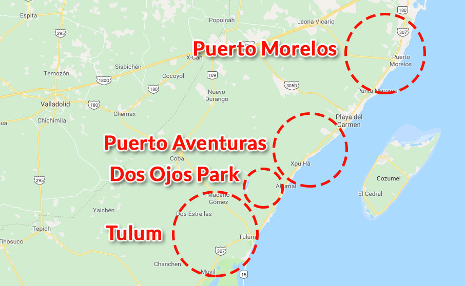 Zones and prices for cavern dives in the cenotes with Planet Scuba Mexico