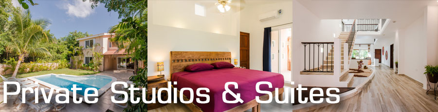 Accommodation in private studios and suites in Puerto Aventuras with Planet Scuba Mexico